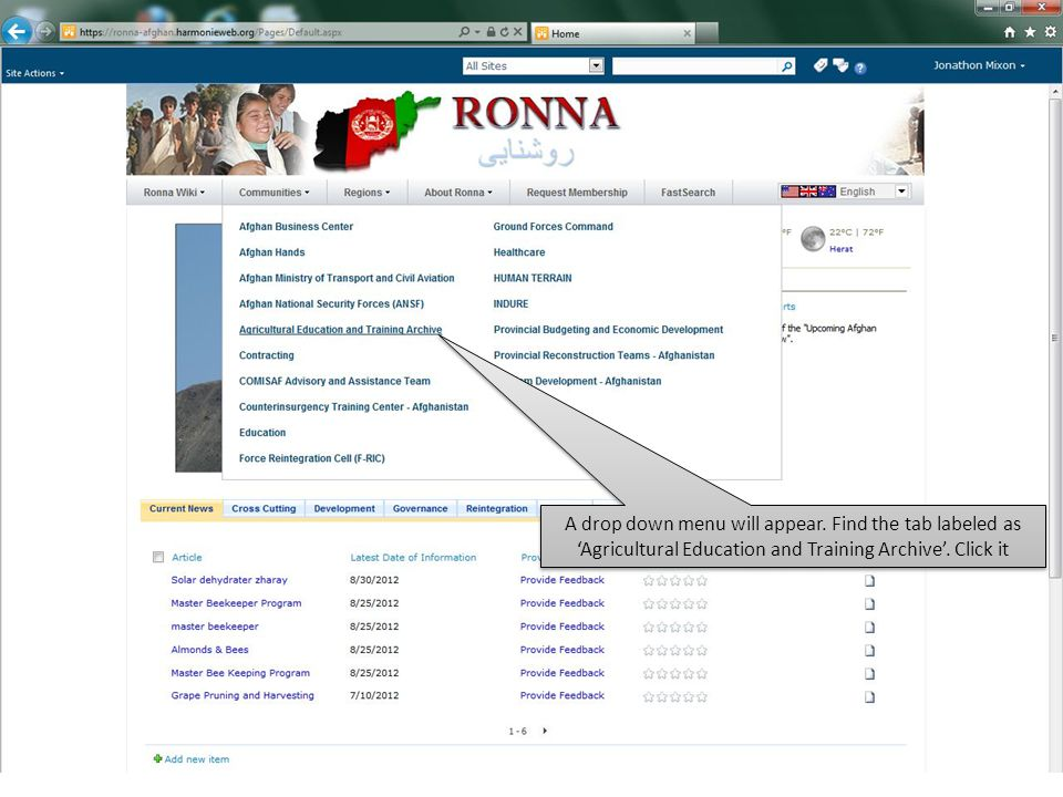 A drop down menu will appear. Find the tab labeled as 'Agricultural Education and Training Archive'. Click it