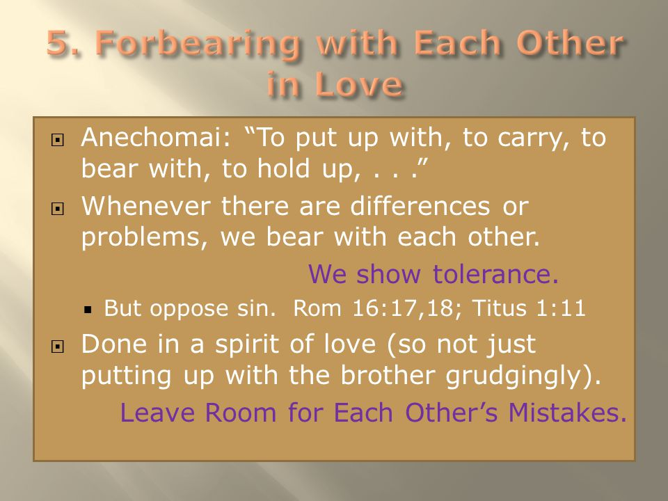 " Anechomai: ""To put up with, to carry, to bear with, to hold up,...""  Whenever there are differences or problems, we bear with each other. We show t"