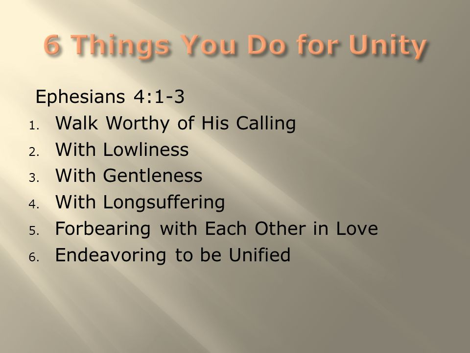 Ephesians 4:1-3 1. Walk Worthy of His Calling 2. With Lowliness 3. With Gentleness 4. With Longsuffering 5. Forbearing with Each Other in Love 6. Ende