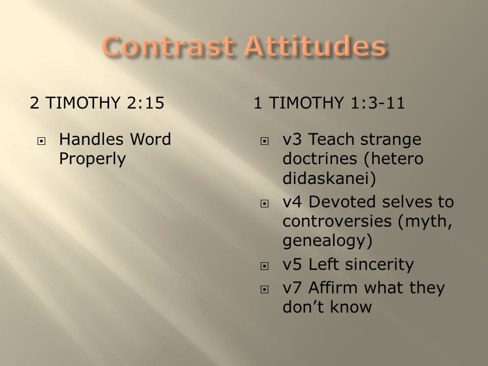 2 TIMOTHY 2:151 TIMOTHY 1:3-11  Handles Word Properly  v3 Teach strange doctrines (hetero didaskanei)  v4 Devoted selves to controversies (myth, ge