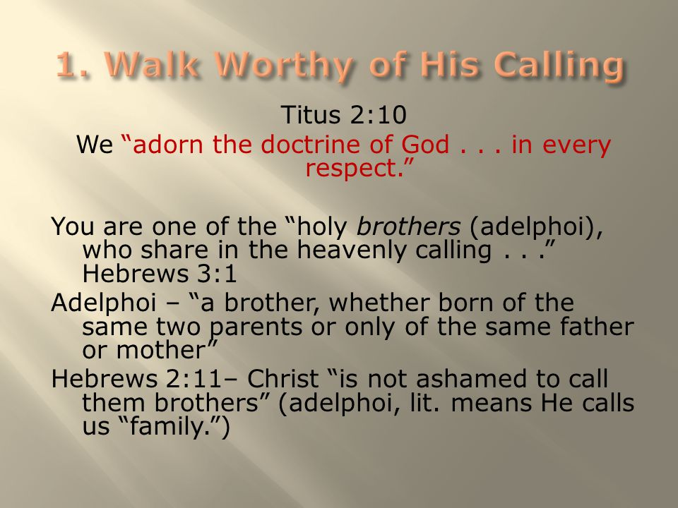 "Titus 2:10 We ""adorn the doctrine of God... in every respect."" You are one of the ""holy brothers (adelphoi), who share in the heavenly calling..."" Heb"