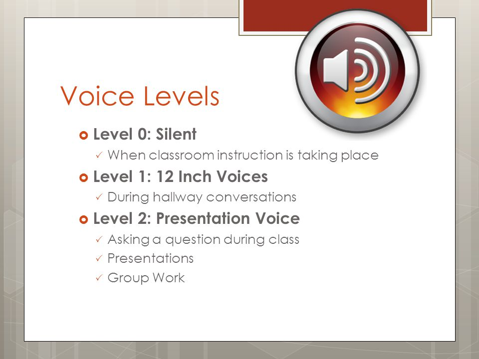Voice Levels  Level 0: Silent  When classroom instruction is taking place  Level 1: 12 Inch Voices  During hallway conversations  Level 2: Presentation Voice  Asking a question during class  Presentations  Group Work