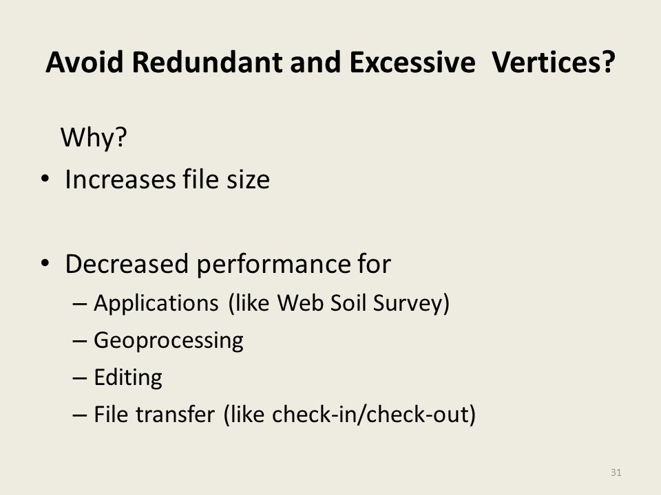 31 Avoid Redundant and Excessive Vertices? Why? Increases file size Decreased performance for – Applications (like Web Soil Survey) – Geoprocessing –