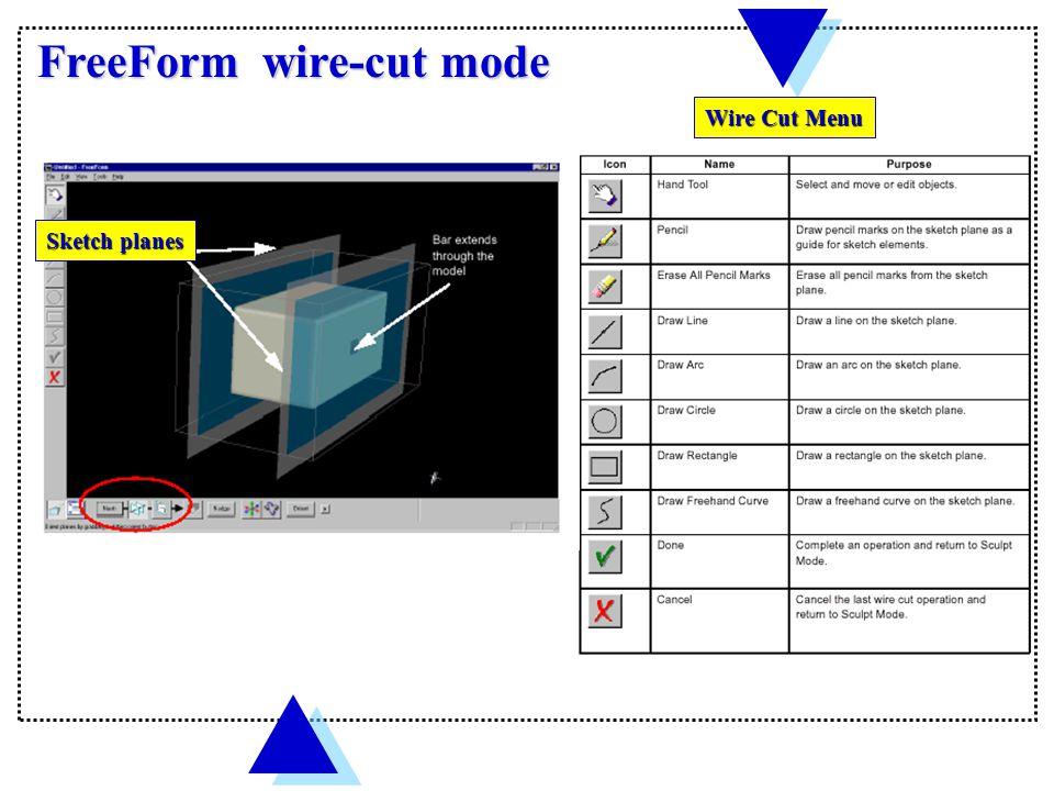 FreeForm Initial screen Menu bar Tool bar Dynabar Status bar Work area border border The center block is digital clay