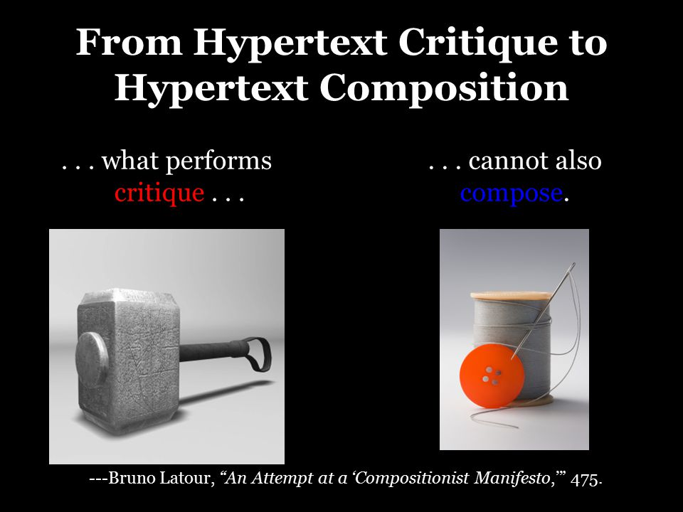 "From Hypertext Critique to Hypertext Composition... what performs critique...... cannot also compose. ---Bruno Latour, ""An Attempt at a 'Compositionis"