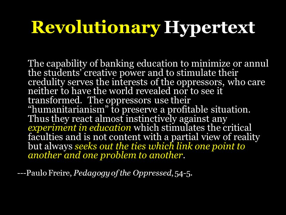 Revolutionary Hypertext The purpose of computers is human freedom, and so the purpose of hypertext is overview and understanding.