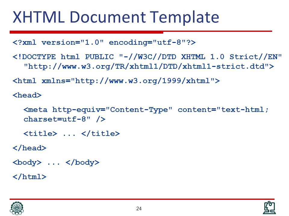XHTML Document Template...... 24