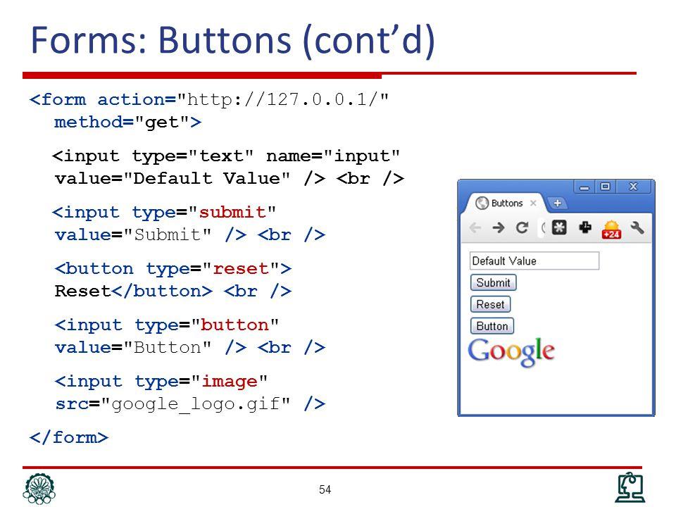 Forms: Buttons (cont'd) Reset 54