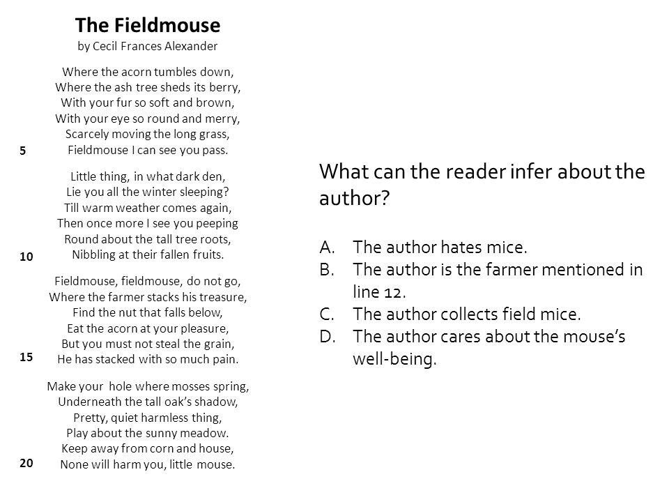 What literary element is found in the third stanza.