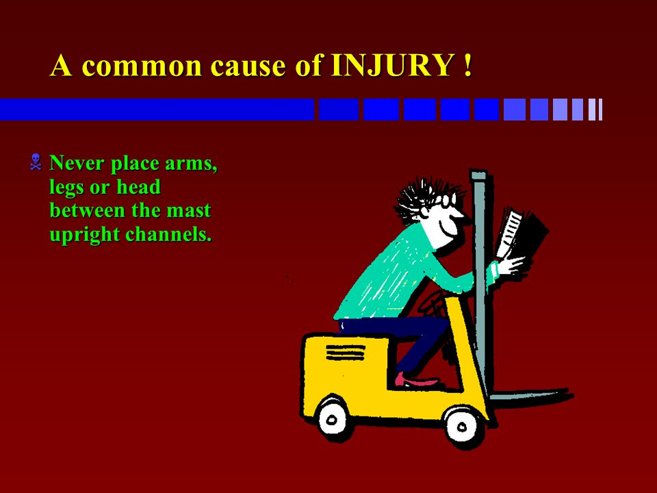 A common cause of INJURY ! NNever place arms, legs or head between the mast upright channels.