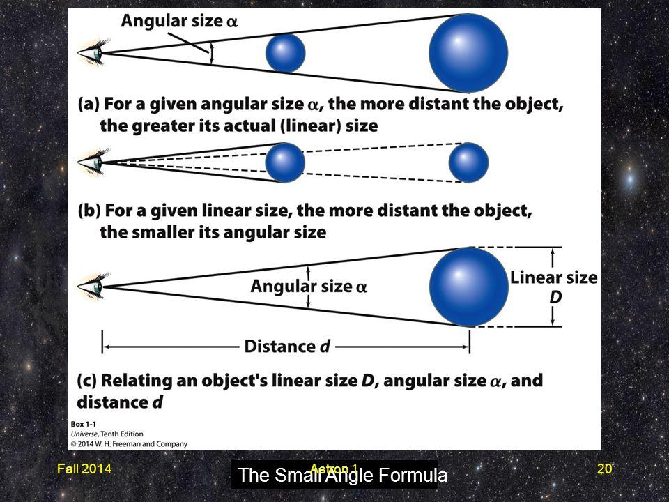 The Small Angle Formula Fall 2014Astron 120