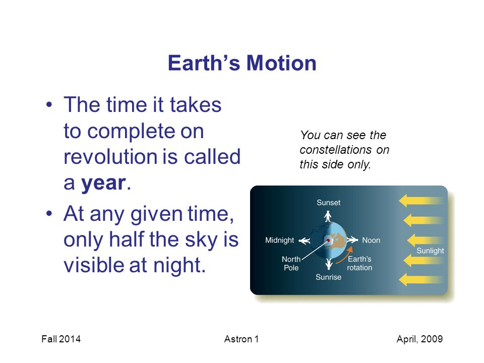 Earth's Motion The time it takes to complete on revolution is called a year.