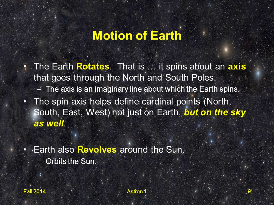 Motion of Earth The Earth Rotates.