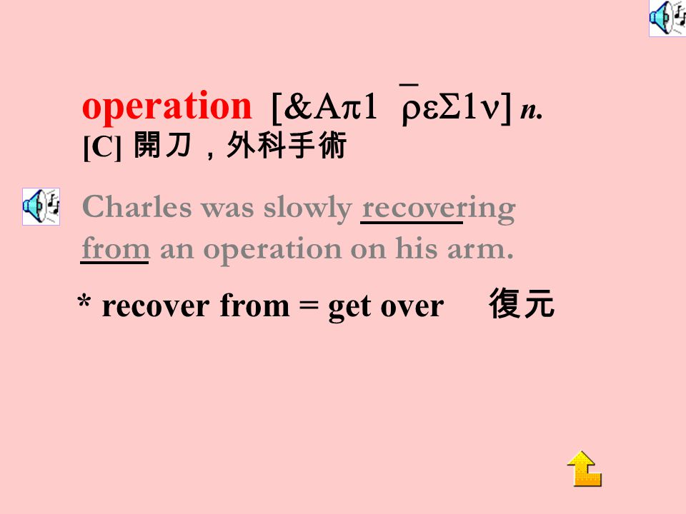 operate [`Ap1&ret] vi. to cut open the body in order to set right or remove a diseased part, usually in a special room in a hospital 開 刀,動手術 The surge