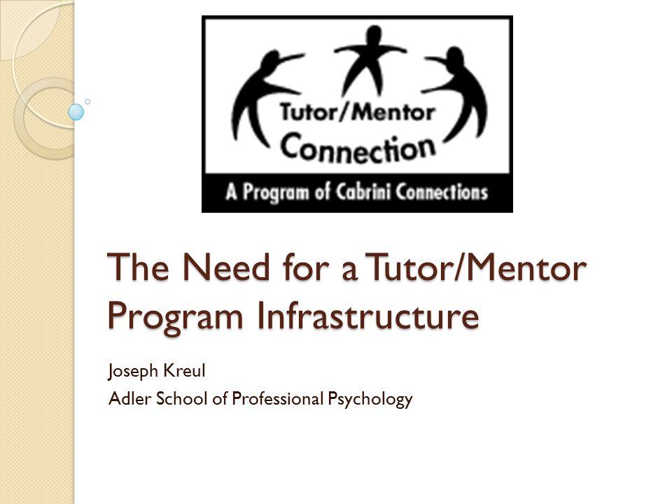 The Need for a Tutor/Mentor Program Infrastructure Joseph Kreul Adler School of Professional Psychology