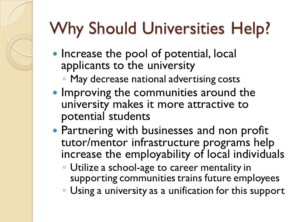 Why Should Universities Help.