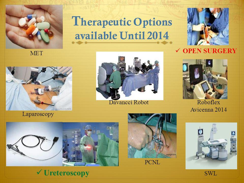 OPEN SURGERY T herapeutic Options available Until 2014 Roboflex Avicenna 2014 SWL PCNL Davancci Robot MET Laparoscopy Ureteroscopy