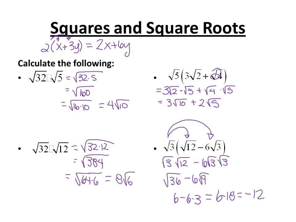 Squares and Square Roots Calculate the following: