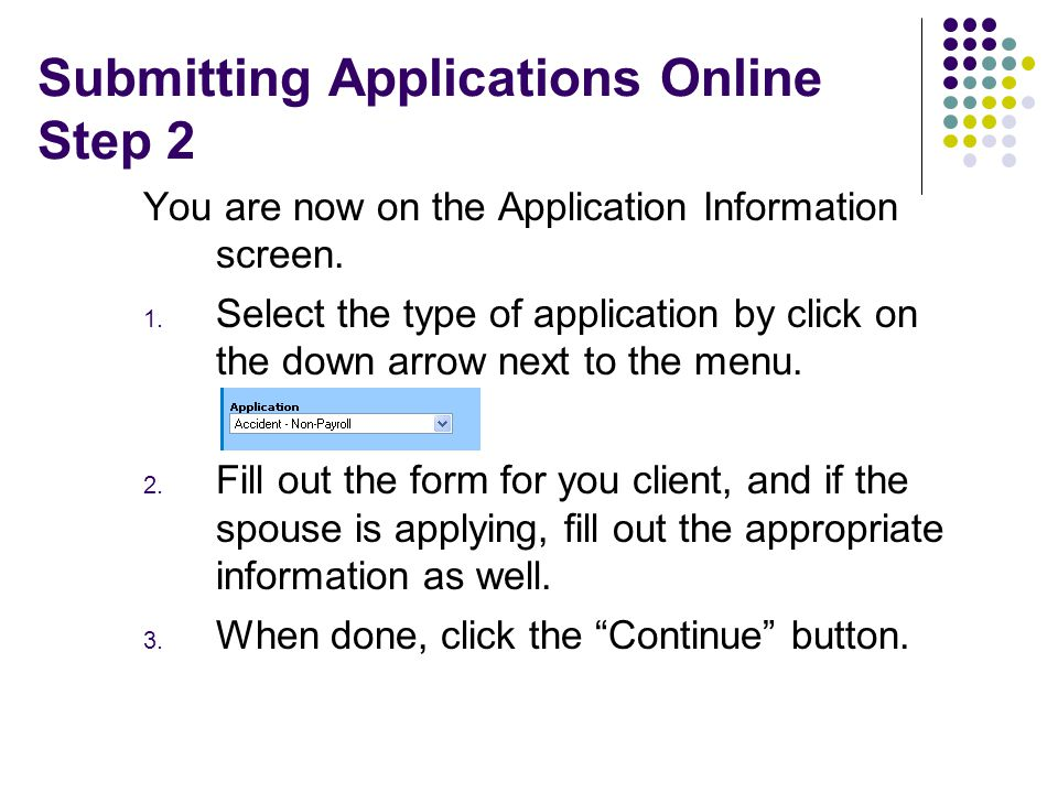 Submitting Applications Online Step 2 You are now on the Application Information screen.