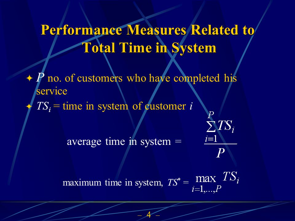  5  Performance Measures Related to Number in Queue  Q(t) be the # of customers in queue at t time-average number in queue = maximum number waiting in queue, Q * = if we simulate only 20 time units
