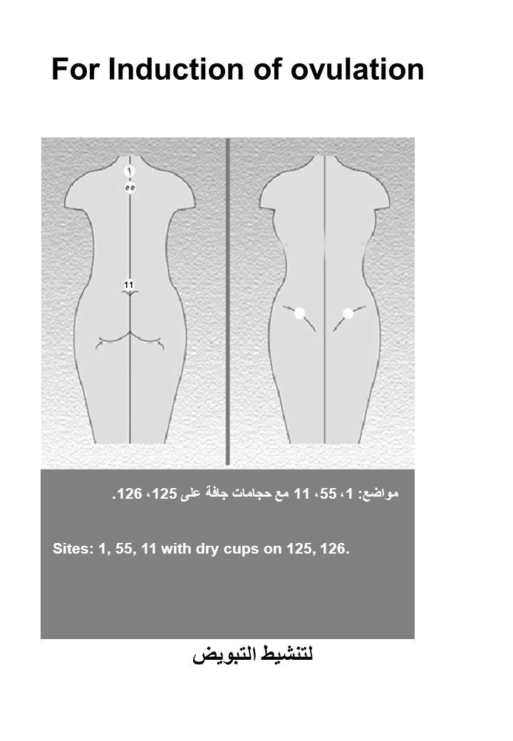 For Induction of ovulation مواضع: 1، 55، 11 مع حجامات جافة على 125، 126.