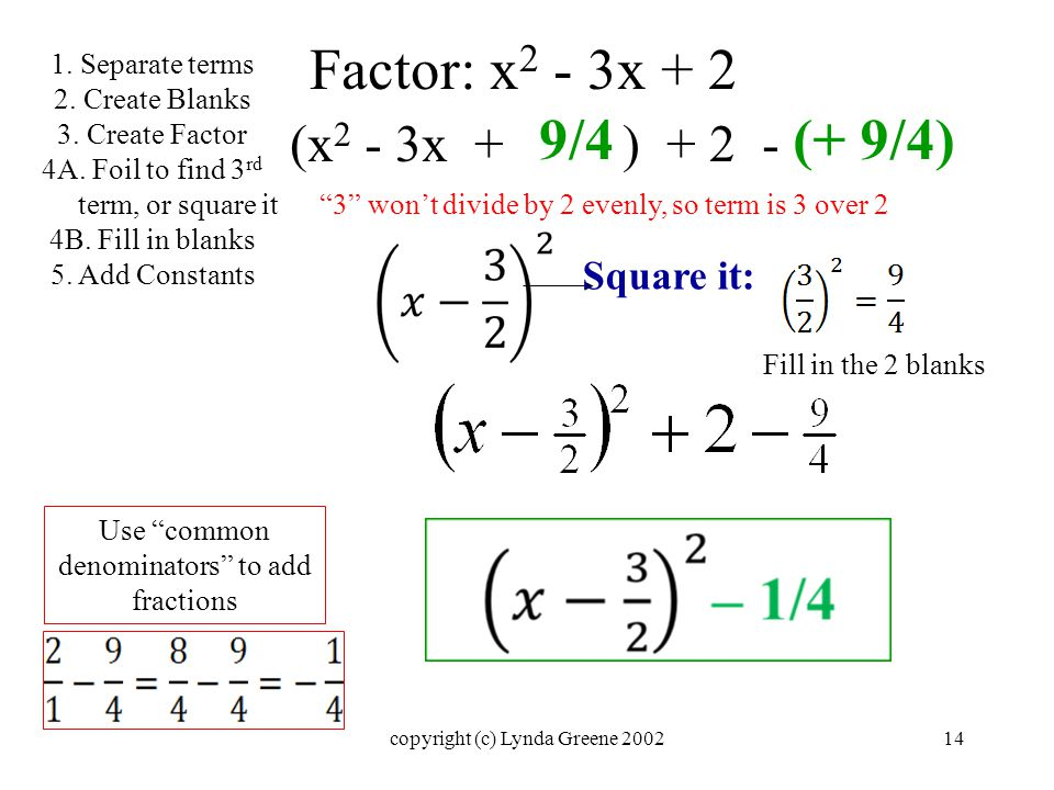 Factor: x 2 - 3x + 2 (x 2 - 3x + ) Square it: 9/4(+ 9/4) 1.