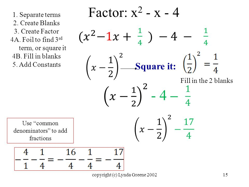 Factor: x 2 - x - 4 Square it: 1. Separate terms 2.