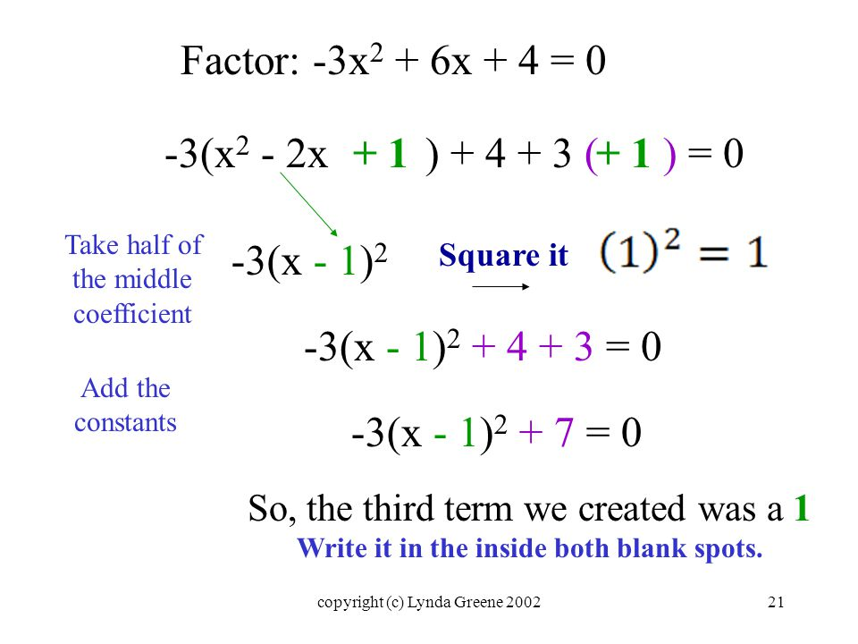 Factor: -3x 2 + 6x + 4 = 0 -3(x 2 - 2x ) ( ) = 0+ 1 Square it So, the third term we created was a 1 Write it in the inside both blank spots.