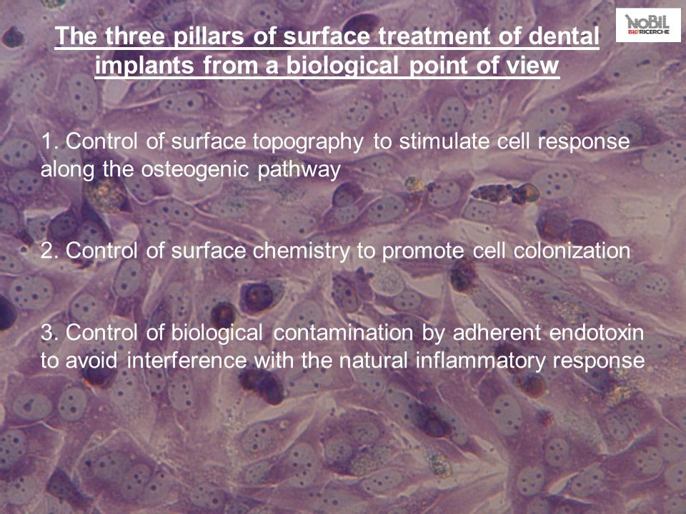 The three pillars of surface treatment of dental implants from a biological point of view 1.