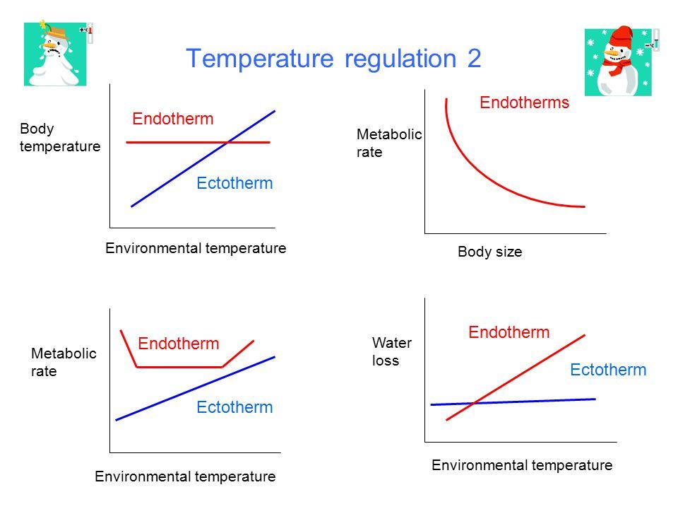 Temperature regulation 2 Metabolic rate Environmental temperature Body temperature Metabolic rate Body size Environmental temperature Water loss Ectot