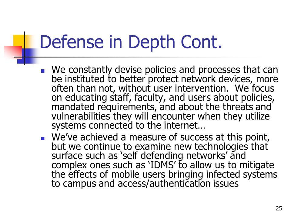 25 Defense in Depth Cont.