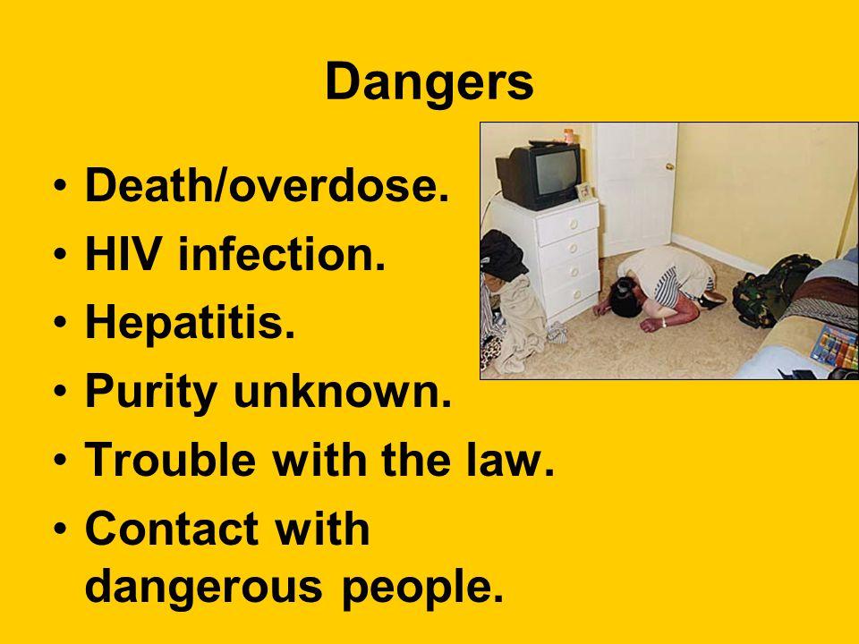 Dangers Death/overdose. HIV infection. Hepatitis.