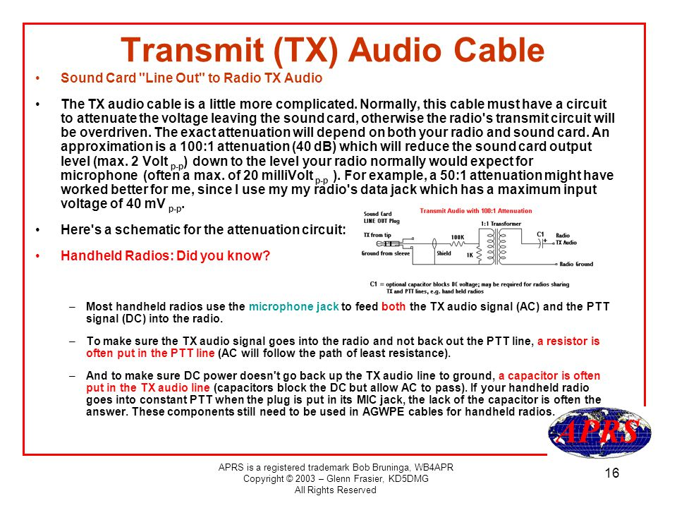 APRS is a registered trademark Bob Bruninga, WB4APR Copyright © 2003 – Glenn Frasier, KD5DMG All Rights Reserved 16 Transmit (TX) Audio Cable Sound Card Line Out to Radio TX Audio The TX audio cable is a little more complicated.