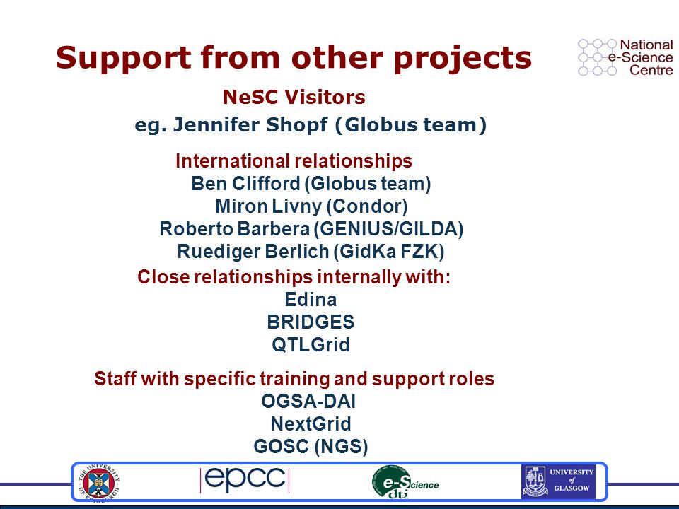 Support from other projects NeSC Visitors eg.