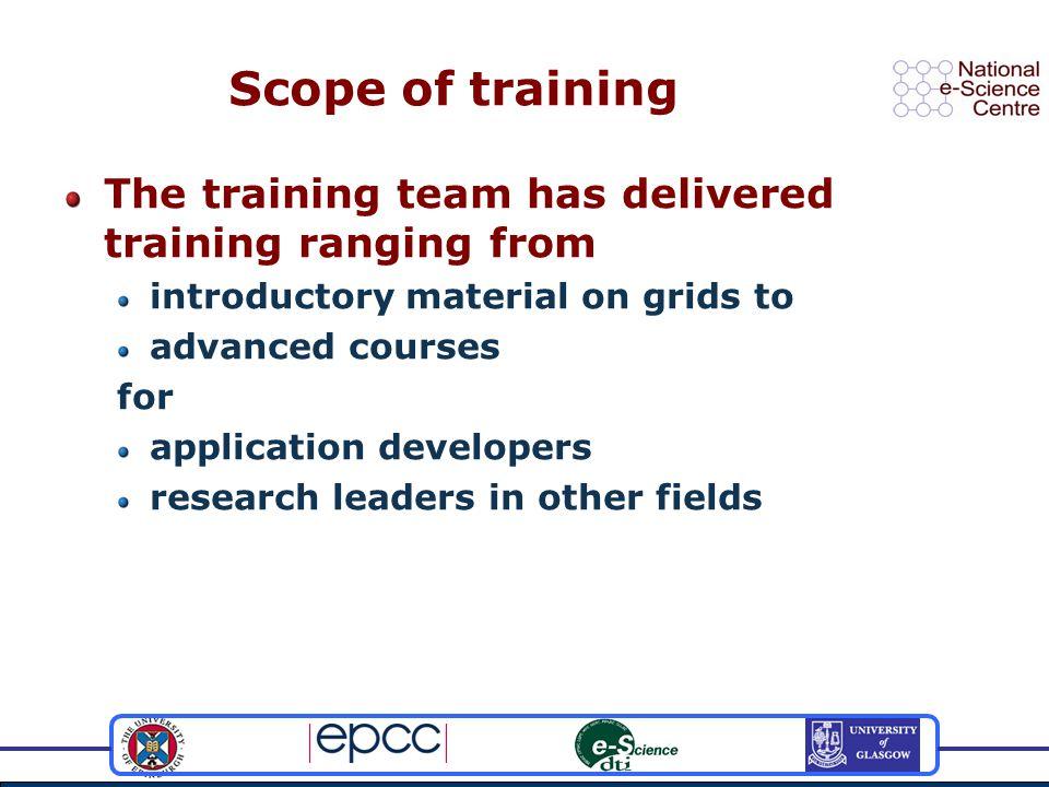 Building on Edinburgh's grid training strengths Supporting the world – now Edinburgh?