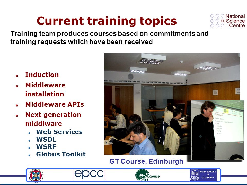 Current training topics Induction Middleware installation Middleware APIs Next generation middlware Web Services WSDL WSRF Globus Toolkit Training team produces courses based on commitments and training requests which have been received GT Course, Edinburgh