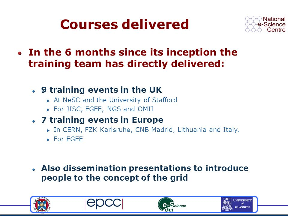 Courses delivered In the 6 months since its inception the training team has directly delivered: 9 training events in the UK  At NeSC and the University of Stafford  For JISC, EGEE, NGS and OMII 7 training events in Europe  In CERN, FZK Karlsruhe, CNB Madrid, Lithuania and Italy.