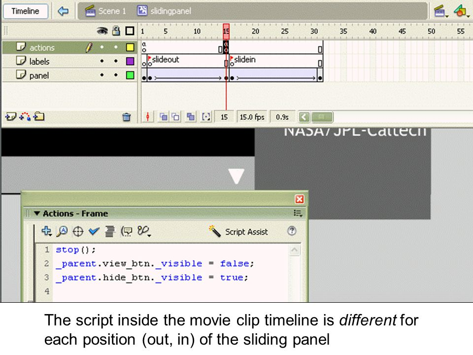 The script inside the movie clip timeline is different for each position (out, in) of the sliding panel