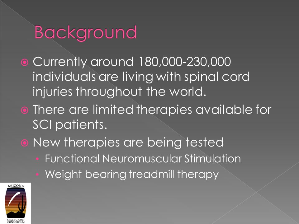  Currently around 180,000-230,000 individuals are living with spinal cord injuries throughout the world.