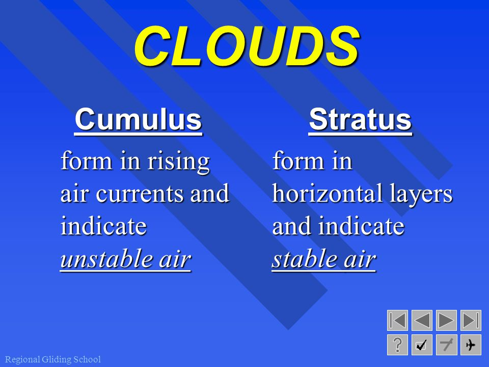 Regional Gliding School CLOUDS Cumulus form in rising air currents and indicate unstable air Stratus form in horizontal layers and indicate stable air
