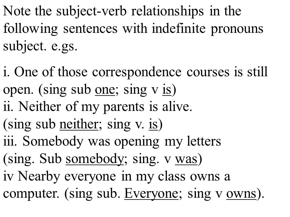 Note the subject-verb relationships in the following sentences with indefinite pronouns subject.