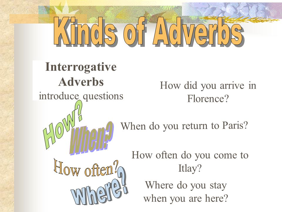 Modifies or describes a verb, an adjective, or another adverb.