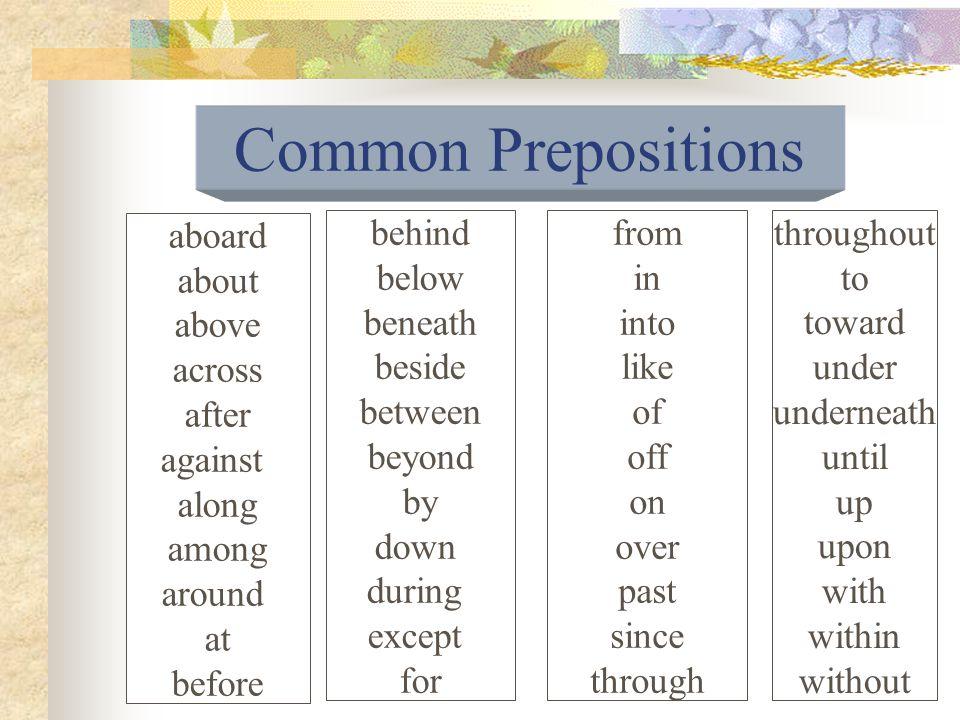 A preposition introduces a noun or pronoun or a phrase or clause functioning in the sentence as a noun.