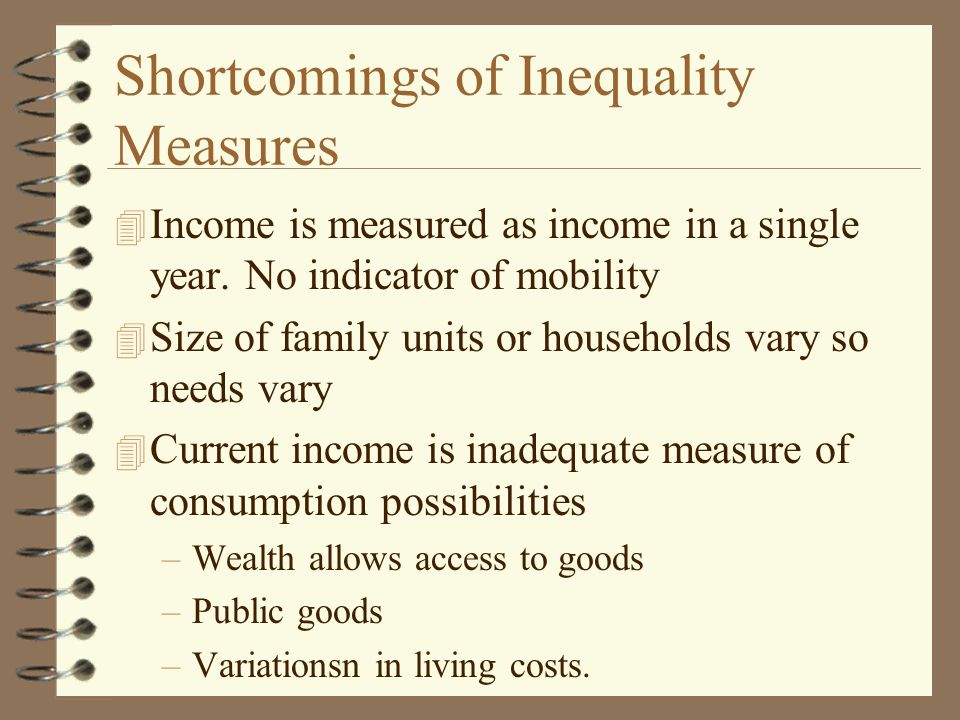 Shortcomings of Inequality Measures 4 Income is measured as income in a single year.