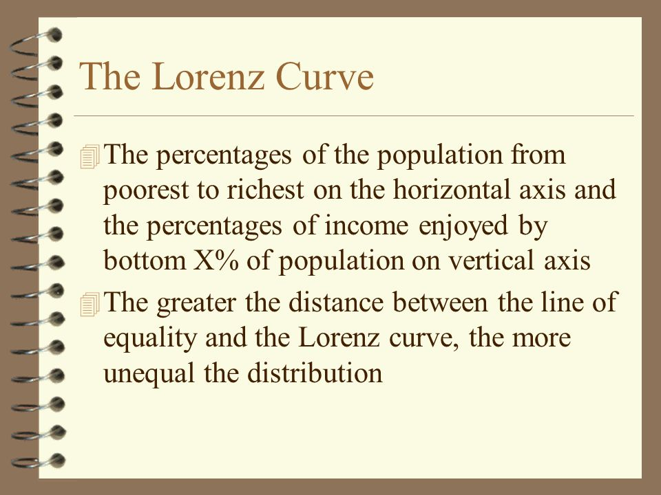 The Lorenz Curve 4 The percentages of the population from poorest to richest on the horizontal axis and the percentages of income enjoyed by bottom X% of population on vertical axis 4 The greater the distance between the line of equality and the Lorenz curve, the more unequal the distribution