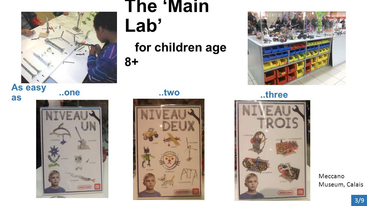 The 'Main Lab' for children age 8+ Meccano Museum, Calais 3/9 As easy as..one..two..three