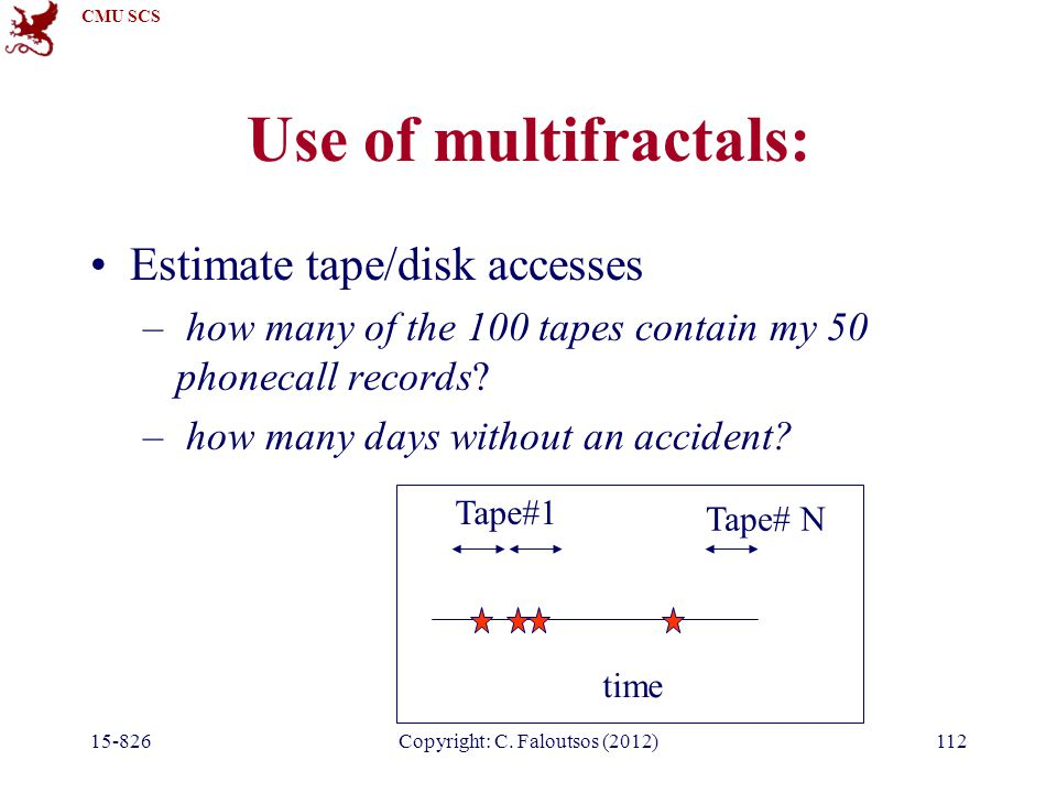 CMU SCS 15-826Copyright: C. Faloutsos (2012)112 Use of multifractals: Estimate tape/disk accesses – how many of the 100 tapes contain my 50 phonecall