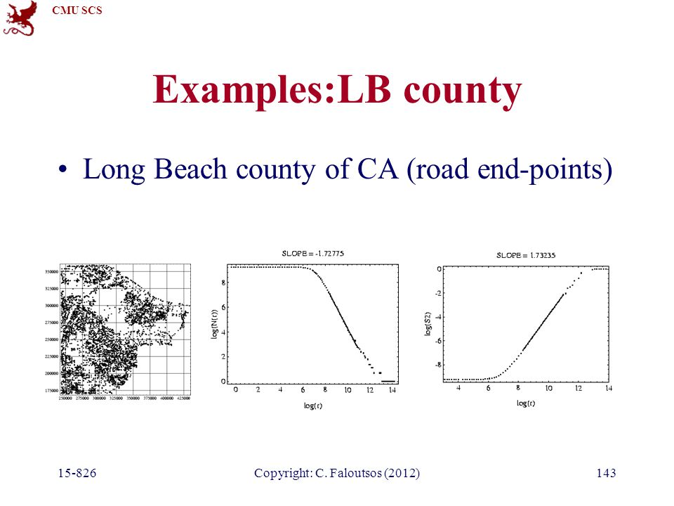 CMU SCS 15-826Copyright: C. Faloutsos (2012)143 Examples:LB county Long Beach county of CA (road end-points)