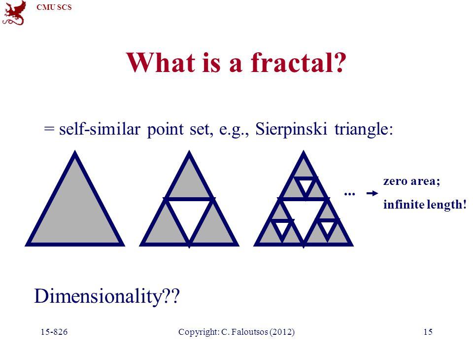 CMU SCS 15-826Copyright: C. Faloutsos (2012)15 What is a fractal.