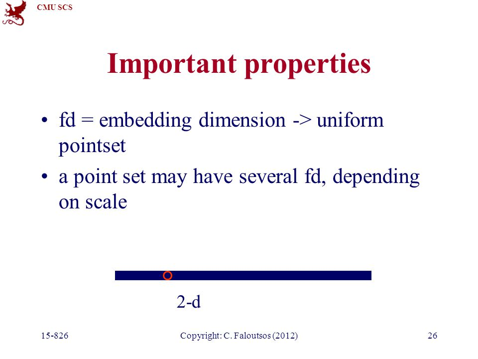 CMU SCS 15-826Copyright: C. Faloutsos (2012)26 Important properties fd = embedding dimension -> uniform pointset a point set may have several fd, depe